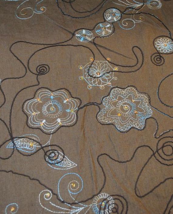 Ткань Лен «Весенняя фантазия» 0012 цвет бежевый цветочный картинка 2