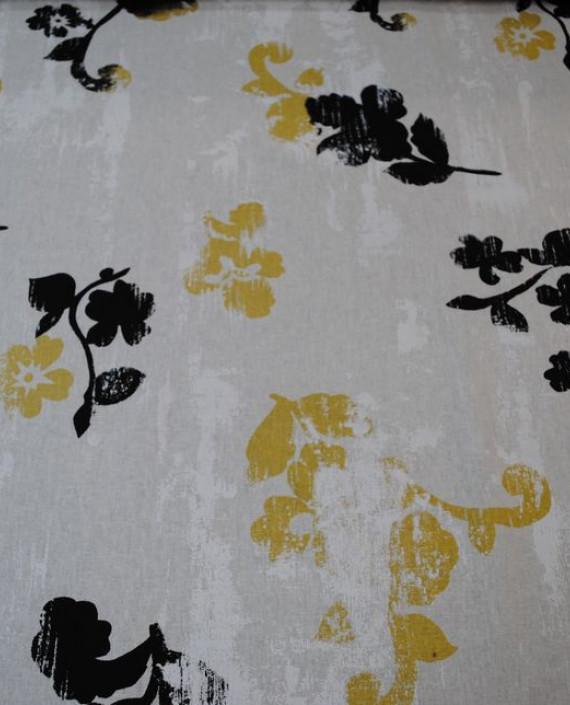 Ткань Лен «Первый снег» 0014 цвет белый цветочный картинка