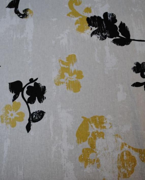 Ткань Лен «Первый снег» 0014 цвет белый цветочный картинка 2