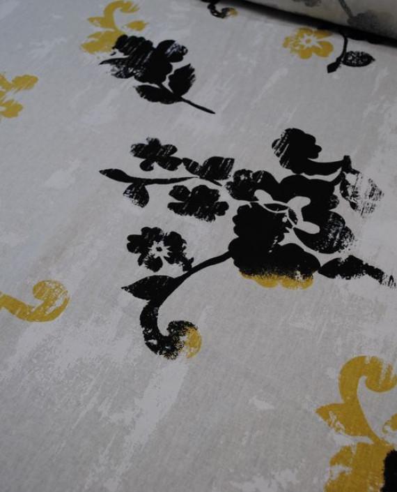 Ткань Лен «Первый снег» 0014 цвет белый цветочный картинка 1