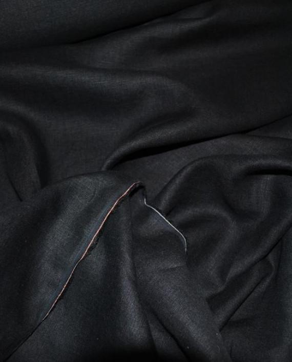 """Ткань Лен """"Черный"""" 0028 цвет черный картинка 2"""