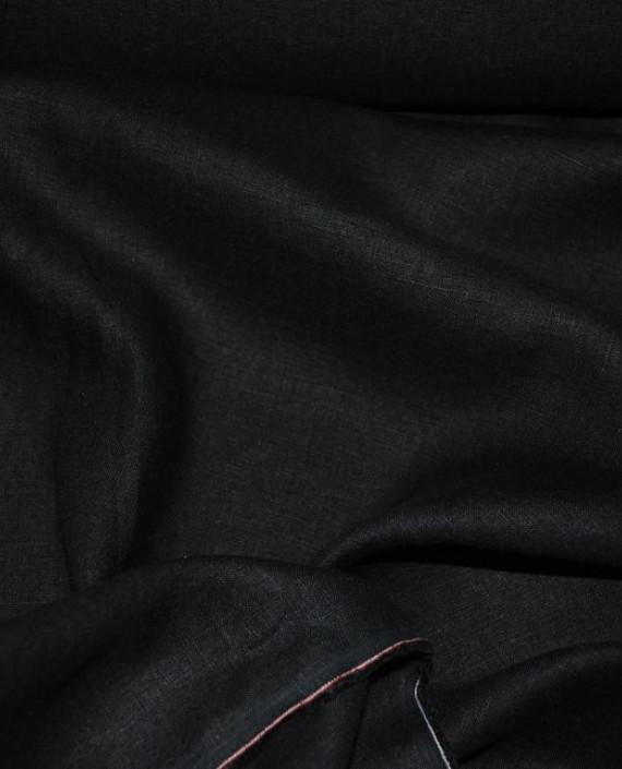 """Ткань Лен """"Черный"""" 0028 цвет черный картинка 1"""