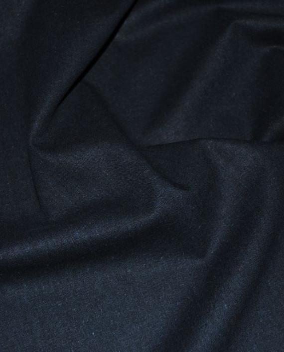 """Ткань Лен """"Полуночно синий"""" 0033 цвет синий картинка 2"""