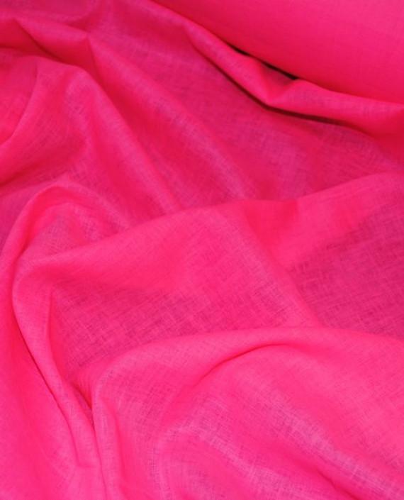 """Ткань Лен """"Ярко Розовый"""" 0036 цвет розовый картинка"""
