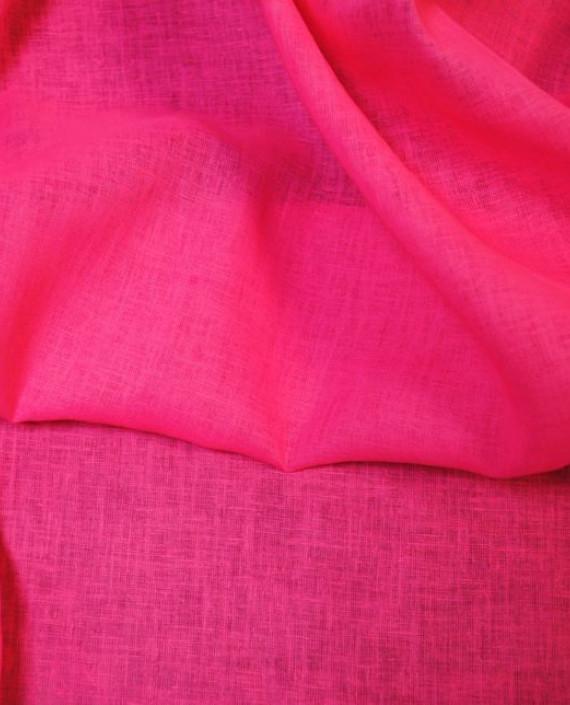 """Ткань Лен """"Ярко Розовый"""" 0036 цвет розовый картинка 2"""