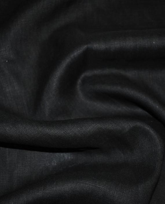 """Ткань Лен """"Черный -2"""" 0043 цвет черный картинка"""