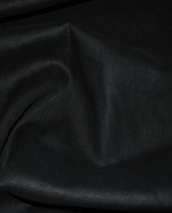 """Ткань Лен """"Черный -2"""" 0043 цвет черный картинка 1"""