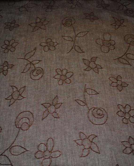 "Ткань Лен Жаккард ""Цветы"" 0047 цвет серый цветочный картинка"