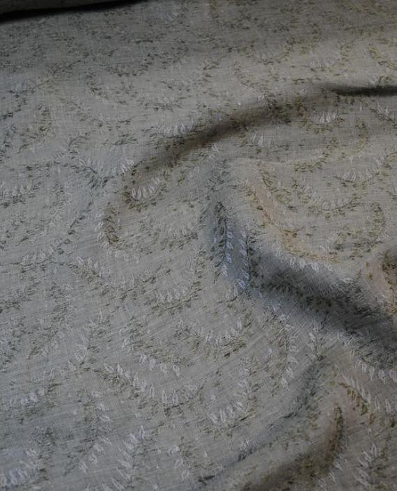 """Ткань Лен Жаккард """"Листья"""" 0048 цвет серый абстрактный картинка 1"""