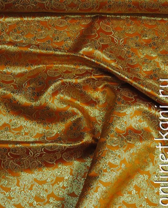 """Ткань Парча """"Золото на желтом"""" 0002 цвет желтый абстрактный картинка"""
