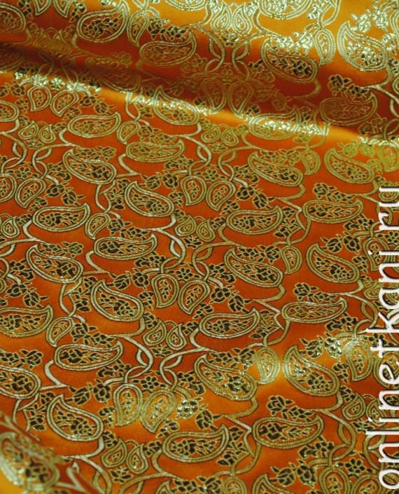 """Ткань Парча """"Золото на желтом"""" 0002 цвет желтый абстрактный картинка 1"""