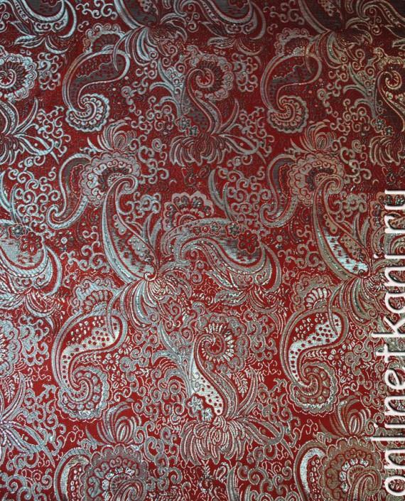 """Ткань Парча """"Серебро на красном"""" 0003 цвет красный абстрактный картинка"""