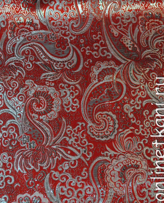 """Ткань Парча """"Серебро на красном"""" 0003 цвет красный абстрактный картинка 2"""