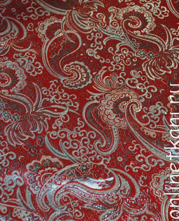 """Ткань Парча """"Серебро на красном"""" 0003 цвет красный абстрактный картинка 1"""