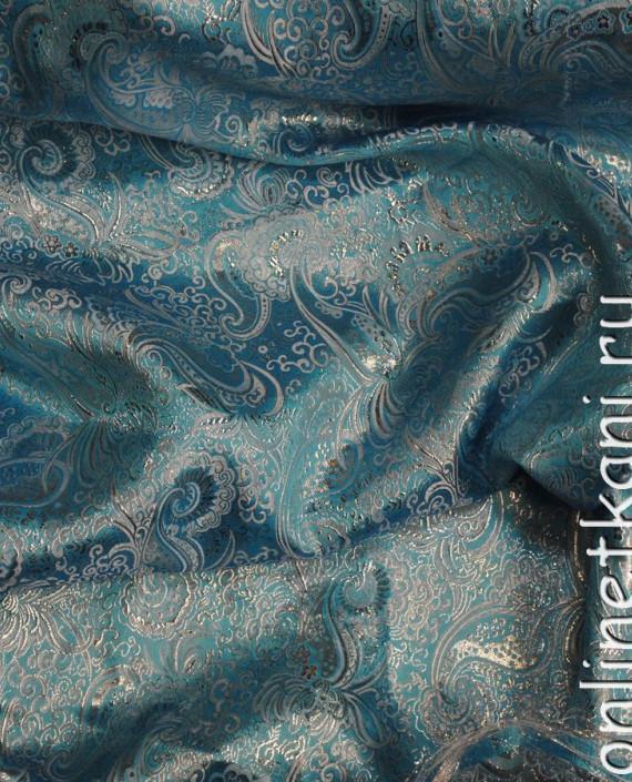 """Ткань Парча """"Серебро на лазурном"""" 0004 цвет бирюзовый абстрактный картинка"""