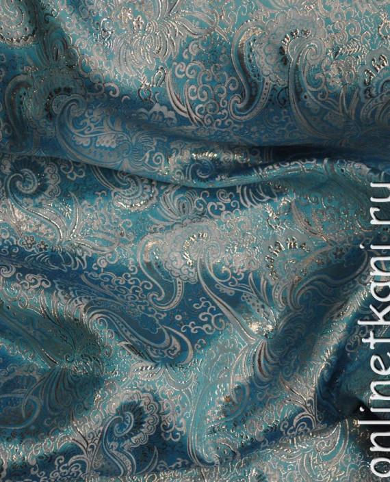 """Ткань Парча """"Серебро на лазурном"""" 0004 цвет бирюзовый абстрактный картинка 3"""