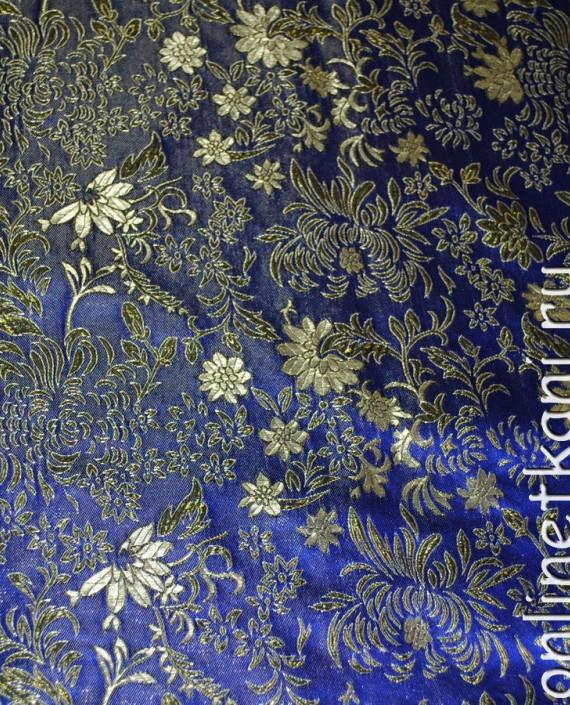 """Ткань Парча """"Золото на синем"""" 0005 цвет синий цветочный картинка"""
