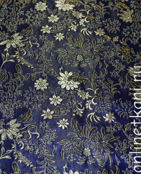 """Ткань Парча """"Золото на синем"""" 0005 цвет синий цветочный картинка 2"""
