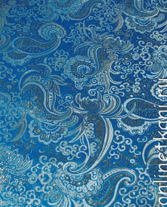 """Ткань Парча """"Серебро на голубом"""" картинка 3"""