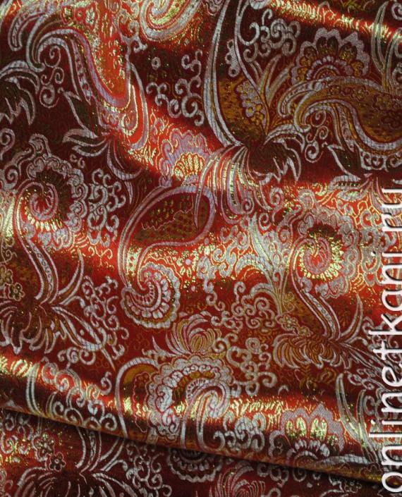 """Ткань Парча """"Золото на алом"""" 0007 цвет красный абстрактный картинка 2"""