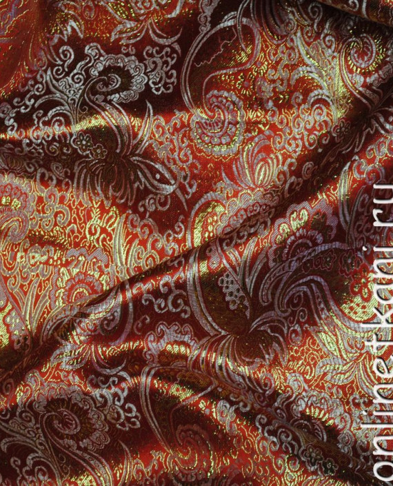 """Ткань Парча """"Золото на алом"""" 0007 цвет красный абстрактный картинка 1"""