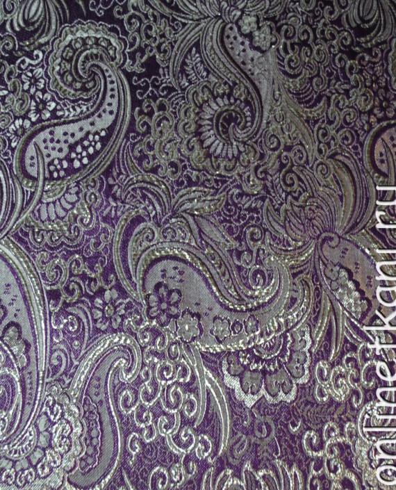 """Ткань Парча """"Серебро на фиолетовом"""" 0008 цвет фиолетовый абстрактный картинка"""