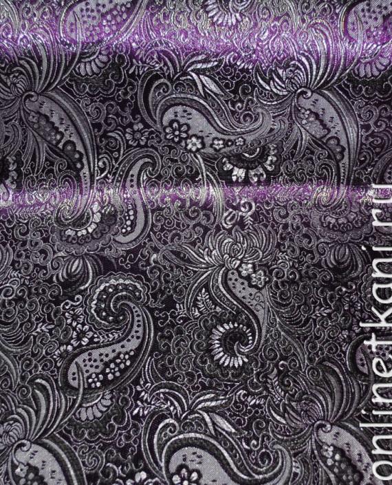 """Ткань Парча """"Серебро на фиолетовом"""" 0008 цвет фиолетовый абстрактный картинка 3"""
