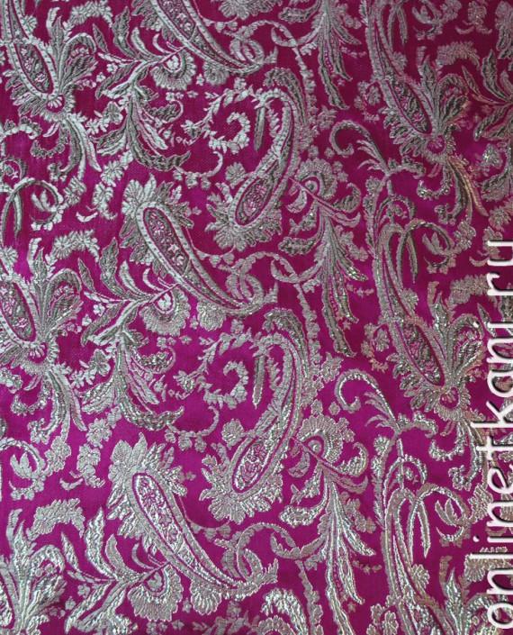 """Ткань Парча """"Серебро на малиновом"""" 0009 цвет малиновый абстрактный картинка 2"""