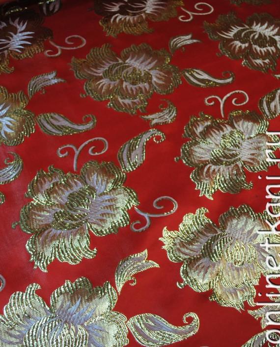 """Ткань Парча """"Золотые цветы"""" 0012 цвет красный цветочный картинка"""