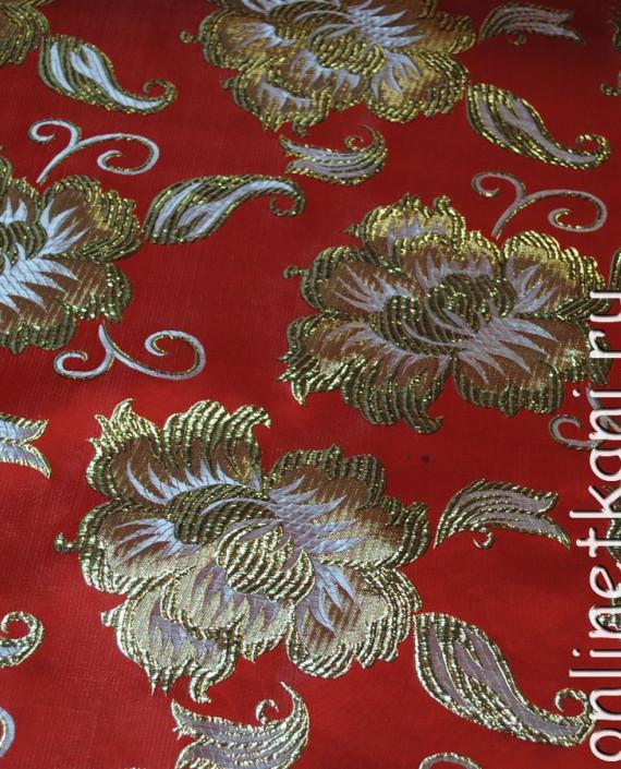 """Ткань Парча """"Золотые цветы"""" 0012 цвет красный цветочный картинка 1"""