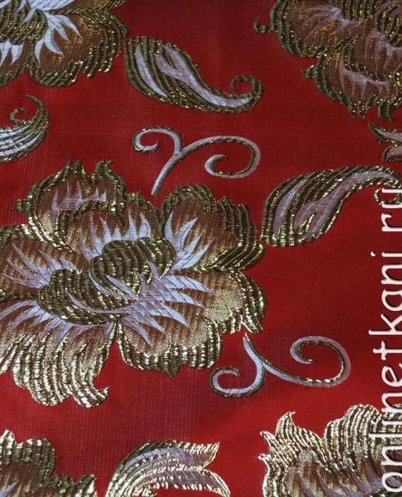 """Ткань Парча """"Золотые цветы"""" 0012 цвет красный цветочный картинка 2"""
