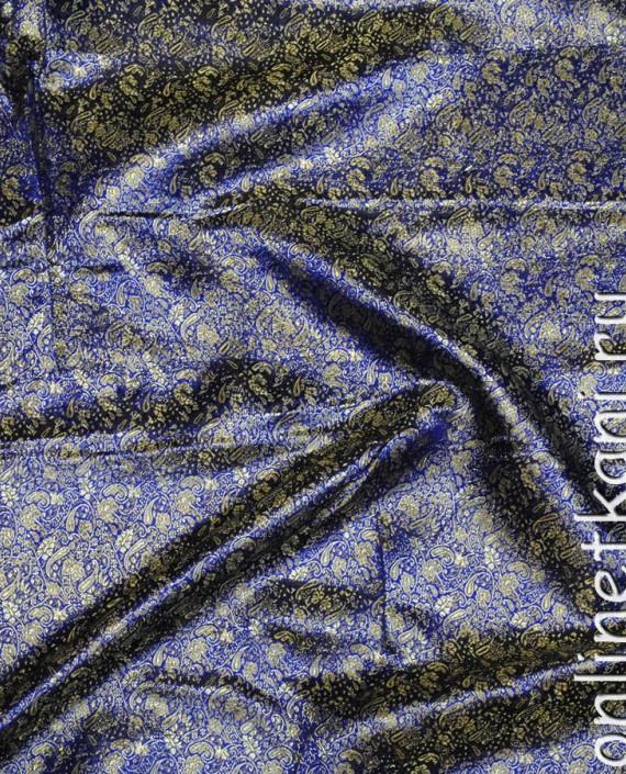 """Ткань Парча """"Золотые цветы на синем"""" 0015 цвет синий цветочный картинка 2"""