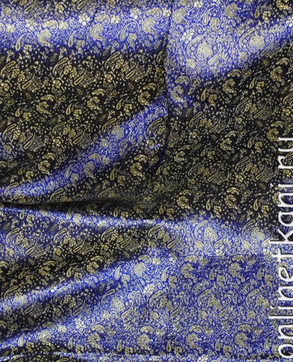 """Ткань Парча """"Золотые цветы на синем"""" 0015 цвет синий цветочный картинка 3"""