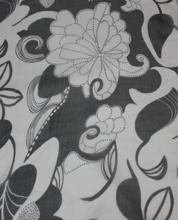 """Ткань Шелк Шифон  """"Белые Цветы"""" 4006 цвет белый цветочный картинка"""