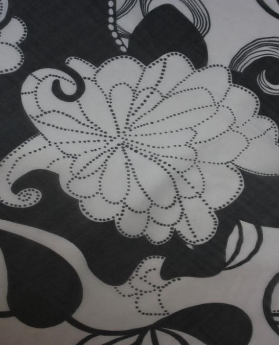 """Ткань Шелк Шифон  """"Белые Цветы"""" 4006 цвет белый цветочный картинка 1"""