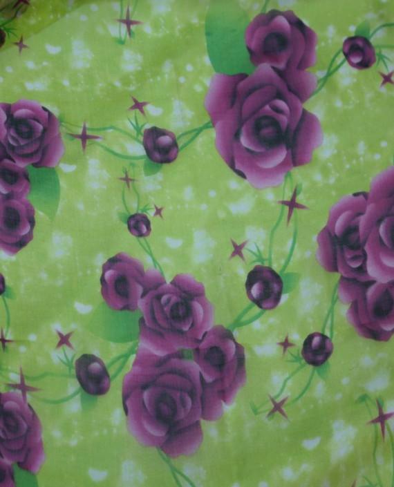 """Ткань Шелк Шифон """"Летний Луг"""" 4007 цвет зеленый цветочный картинка"""