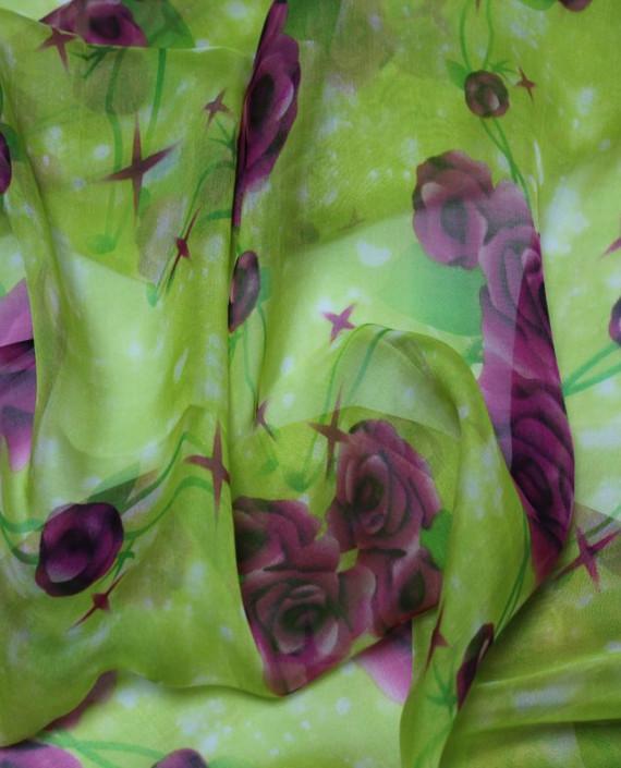 """Ткань Шелк Шифон """"Летний Луг"""" 4007 цвет зеленый цветочный картинка 2"""