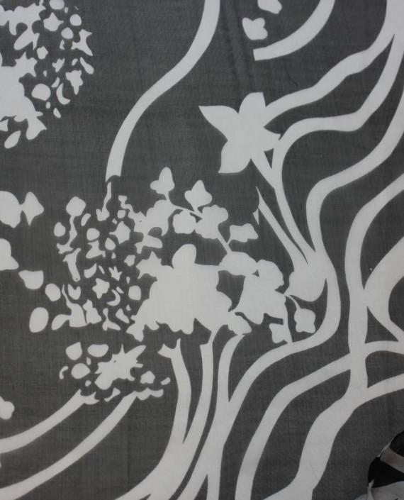 """Ткань Шелк Шифон """"Белые Цветы на Черном"""" 4009 цвет черный цветочный картинка"""
