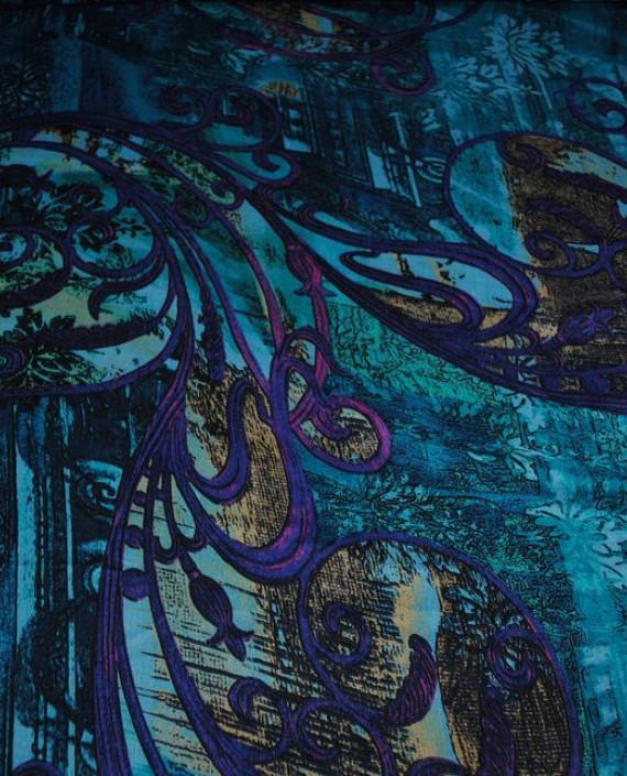 "Ткань Шелк Шифон ""Жар-Птица"" 0001 цвет голубой абстрактный картинка 3"