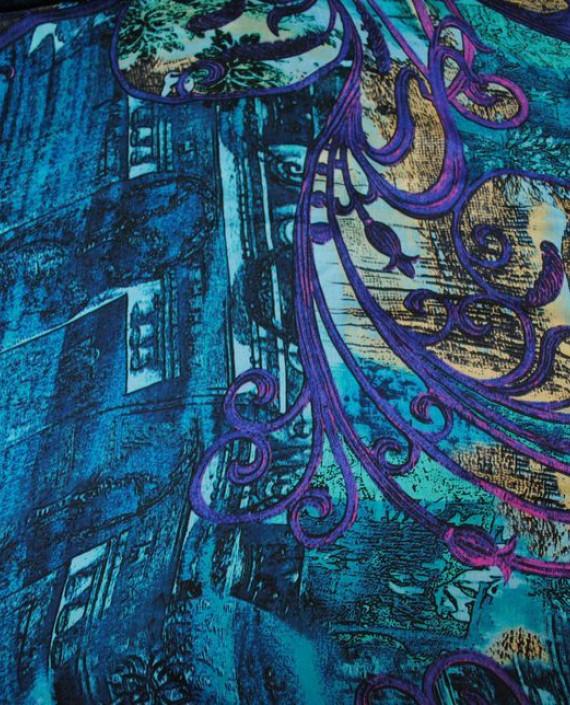 "Ткань Шелк Шифон ""Жар-Птица"" 0001 цвет голубой абстрактный картинка"