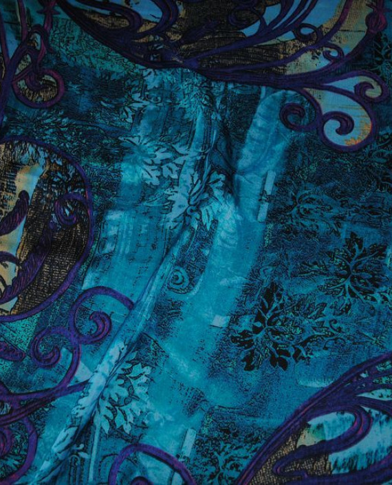 "Ткань Шелк Шифон ""Жар-Птица"" 0001 цвет голубой абстрактный картинка 2"