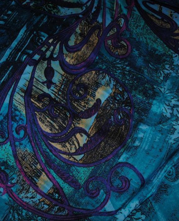 "Ткань Шелк Шифон ""Жар-Птица"" 0001 цвет голубой абстрактный картинка 1"
