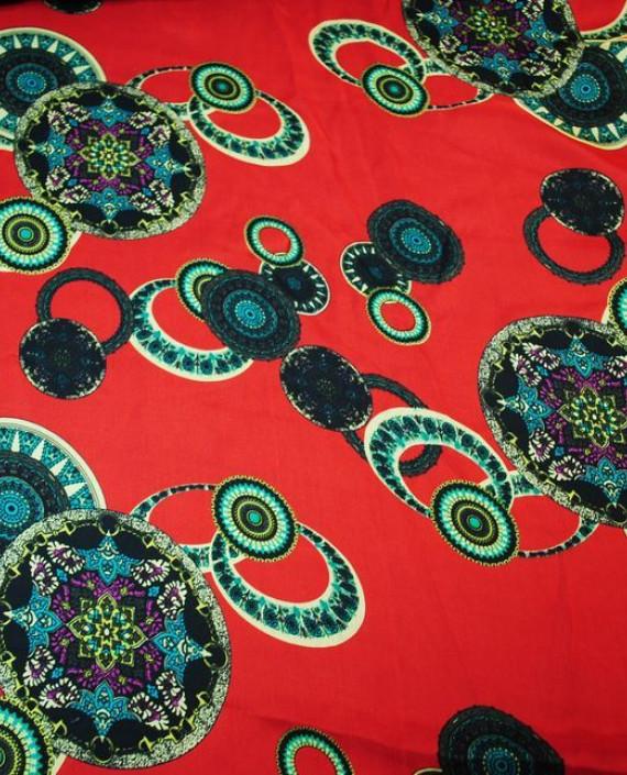 """Ткань Шелк Шифон """"Восточный рисунок"""" 0003 цвет красный геометрический картинка"""