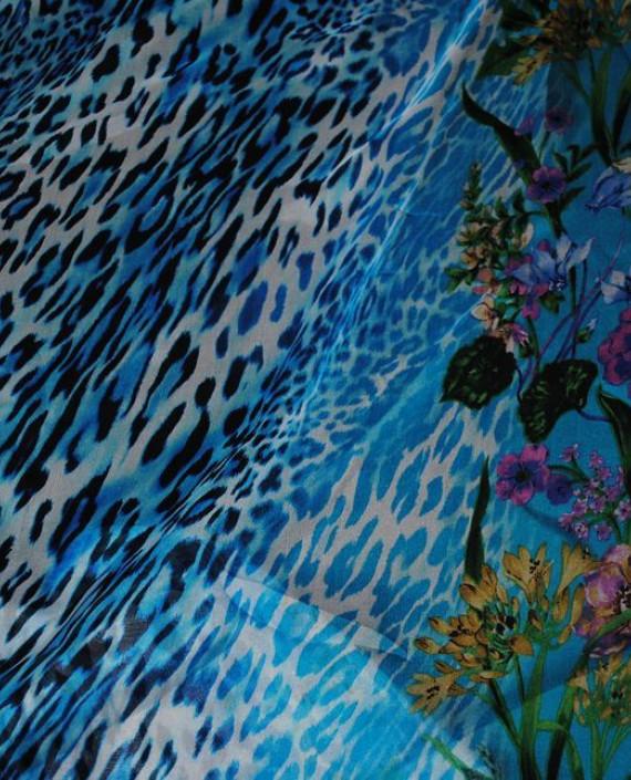"""Ткань Шелк Шифон """"Тигровые мотивы"""" 0004 цвет голубой анималистический картинка 1"""
