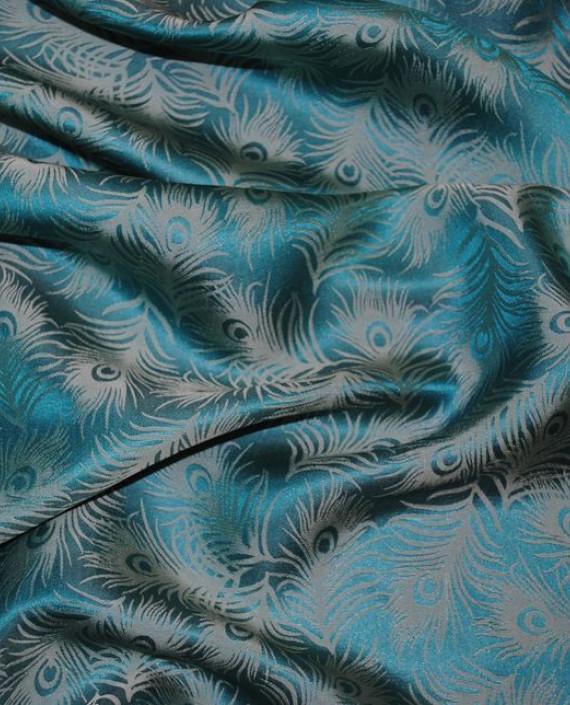 """Ткань Шелк Жаккард  """"Перья"""" 0011 цвет бирюзовый абстрактный картинка 1"""