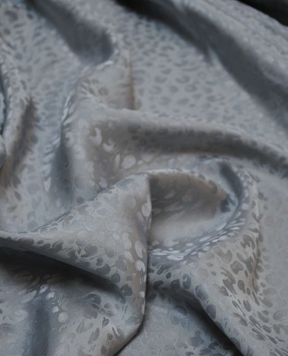 """Ткань Шелк Жаккард  """"Ростки"""" 0013 цвет серый леопардовый картинка 1"""