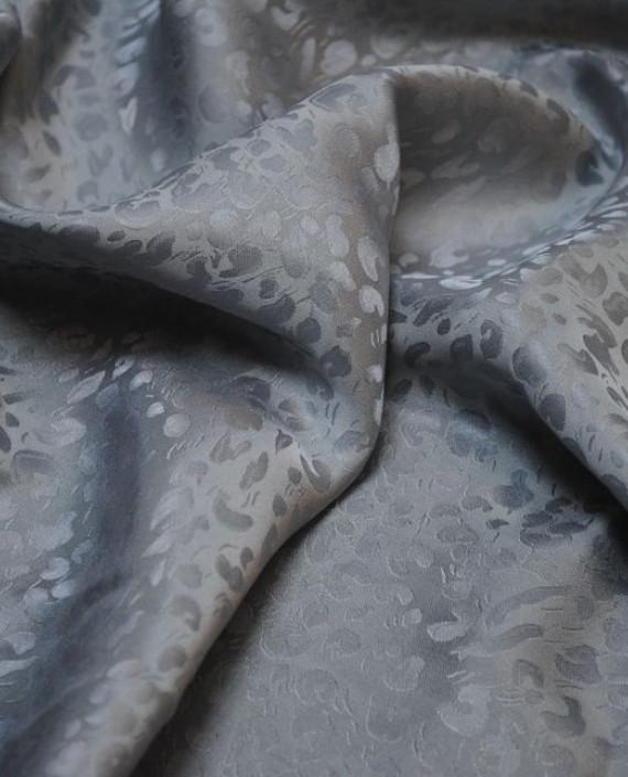 """Ткань Шелк Жаккард  """"Ростки"""" 0013 цвет серый леопардовый картинка"""