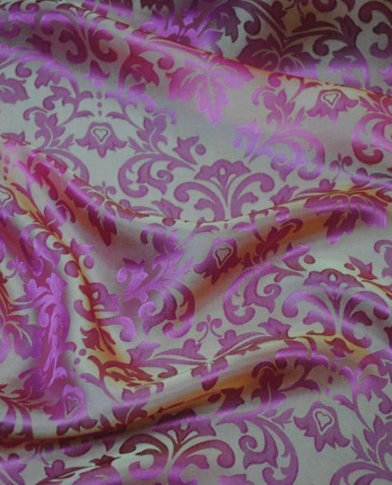 """Ткань Шелк Жаккард """"Розовые цветы"""" 0014 цвет розовый цветочный картинка"""