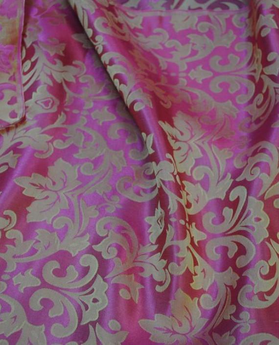 """Ткань Шелк Жаккард """"Розовые цветы"""" 0014 цвет розовый цветочный картинка 3"""
