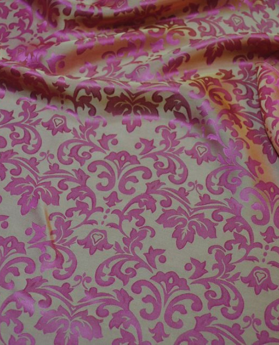 """Ткань Шелк Жаккард """"Розовые цветы"""" 0014 цвет розовый цветочный картинка 2"""